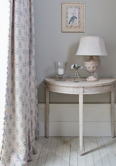 Cottage Curtains, Blue Curtains, Cottage Hallway, Teal Rooms, Susie Watson, Hall Interior Design, Paint Shades, Single Bedroom, Marine Blue