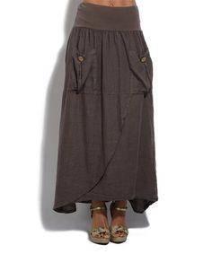 efb70986e6 This Brown Pocket Linen Maxi Skirt is perfect!  zulilyfinds Vestidos