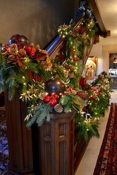 Staircase holiday garland
