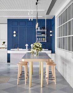 classic blue is pantone's 2020 colour of the year Interior Trailer, Diy Interior Doors, Cafe Interior, Room Interior, Commercial Interior Design, Modern Interior Design, Modern Decor, Hotel Restaurant, Restaurant Design