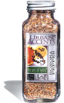 Urban Accents Sonoma Pepper by Urban Accents. $6.65. A lemon orange pepper blend.. The orange and lemon peels bring out new flavors in favorite dishes.. Inspired by the fresh, natural  flavors of California's sun-drenched citrus groves.. Use in place of regular ground pepper on your table.. Salt and sugar free.. This blend of tellicherry black pepper, minced lemon and orange peel, citric acid, garlic and onion will bring lots of flavor to your dishes.
