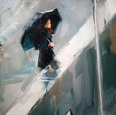 """Daily Paintworks - """"Schirm im Regen"""" - Original Fine Art for Sale - © Edward B. Gordon"""