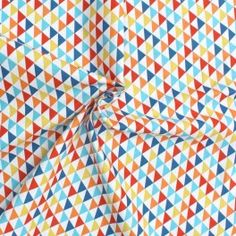 Cretonne stof met veelkleurig geometrische design