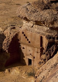 The rock carved tombs of Mada'in Saleh in Saudi Arabia (by Eric Lafforgue).