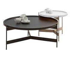 Table basse bois et métal, noir et blanc - L142