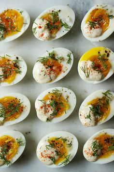 These are right up my alley. Soft-boiled eggs with the 'deviled' part on top instead of mashed with the yolk. LOVE!