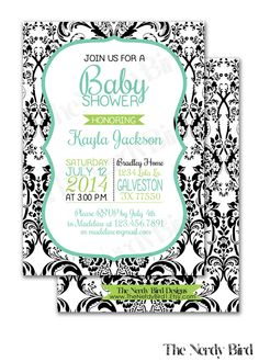 Black and White Damask and Green and Turquoise Printable Baby Shower Invitation by TheNerdyBird1 on Etsy https://www.etsy.com/listing/194839766/black-and-white-damask-and-green-and