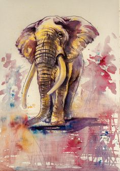 ARTFINDER: Elephant in gold by Kovács Anna Brigitta - Watercolour with gold pigment.  Original watercolour painting on high quality watercolour paper. I love landscapes, still life, nature and wildlife, lights ...