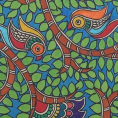 World Menagerie Polyester Nature Beauty Madhubani Painting Wall Hanging Madhubani Art, Madhubani Painting, Indian Arts And Crafts, Indian Folk Art, Selling Art, Tribal Art, Stretched Canvas Prints, Art Sketchbook, Creative Art