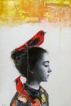 Vogel, hoofd, rood,   https://www.facebook.com/Dominique.Fortin.artiste.peintre/photos/ms.c.eJxdz8ENwDAIQ9GNKrAdQvZfLO2lEr4~_~
