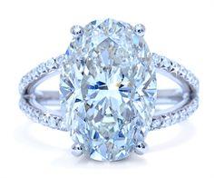 7.67 carat oval diamond with a split shank. Ascot Diamonds