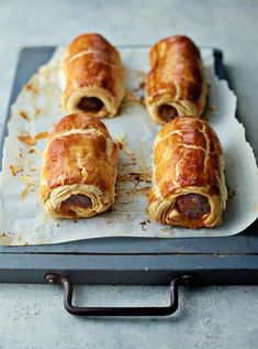 This irresistible recipe for Chorizo and Cheese Sausage Rolls from The Sunday Brunch Cookbook is a British classic with a lovely Spanish twist, thanks to the delicious flavours of chorizo and Manchego cheese. Cheese Sausage, Sausage Rolls, Chorizo Sausage, Wontons, Snack Recipes, Cooking Recipes, Chorizo Recipes, Savoury Recipes, Bonfire Night Food