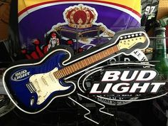 Budweiser Neon Sign With Real Aria Guitar Limited