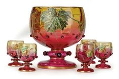 bohemian punch bowl sets   BOHEMIAN ENAMELED AMBERINA GLASS PUNCH BOWL AND SEVEN FOOTED CUPS,