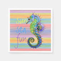 Beautiful contemporary striped watercolor paint brush strokes pattern and pretty seahorse. Gender: unisex. Age Group: adult.