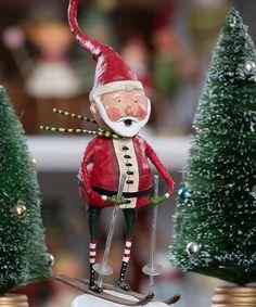Downhill Ski Santa Figurine
