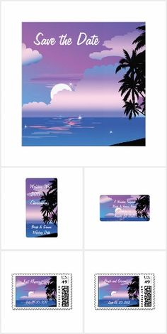 """"""""""" Tropical Night Ocean Wedding """""""" (20 Items) Beautiful palm trees silhouetted in the foreground, A blue and purple sky with the full moon setting over the ocean. . Feature Save the Date Invitation Card,Wine Labels,Address Labels,Postage,Cocktail Napkins,Announcement,Reception Insert Card,Thank You cards,RSVP Wedding Invitation Rack Cards,Stickers and much more...----  """" To Know more Explore this Unique Collection Today """""""