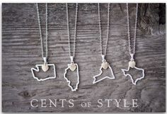 Custom Designed State Necklace-- I want an Iowa one!