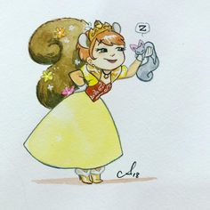 Princess Squirrel Girl! @rosecitycc commission Rihanna Drawing, Amy Mebberson, Unbeatable Squirrel Girl, Disney Couples, Batgirl, Cartoon Drawings, Disney Pixar, Avengers, Anime