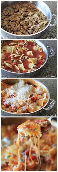 Skillet Lasagna - this is an easy one-pan meal with all the yummy flavor of homemade lasagna. You'll be able to have this on the table in 30...