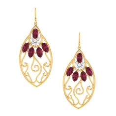 #Delightful #fashionable and #traditional #fusion #Ruby #Diamond #earrings