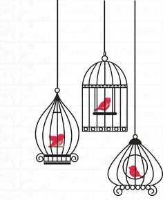 Cute wall decals - choose the color of the bird AND the color of the cage.