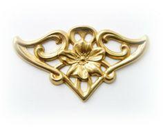 FLOURISH Flower Ornament Brass Stamping - Jewelry Findings  (FB-6012) **
