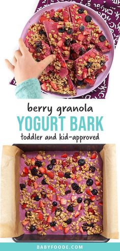 This yummy Berry Granola Yogurt Bark is perfect for breakfast, snacks or dessert for your toddler or kids. Made with 4 simple ingredients, it only takes 5 minutes to make a batch of this healthy sweet treat that kids love! #toddler #kids #yogurtbark #snack #breakfast #easy Healthy Sweet Snacks, Healthy Sweets, Easy Snacks, Yummy Snacks, Yummy Food, Yummy Yogurt, Simple Snack Recipes, Toddler Recipes Healthy, Healthy Snacks For Toddlers