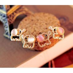 Fashion Lovely Cute Baby Elephant Opal Stud Earrings