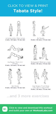 Tabata Style! – click to view and print this illustrated exercise plan created with #WorkoutLabsFit