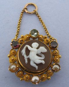Boxed-Antique-1870-Cannetille-Gold-Shell-Cameo-Cherub-Genius-of-Light-Pendant