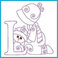 Sunbonnet Winter Alphabet - Free Instant Machine Embroidery Designs