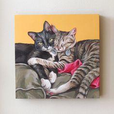 12x12 inches two pets $325 CAD, Cat Portrait custom cat portrait cat painting 2 by LetitiasArt