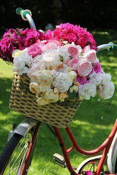❥ beautiful basket of flowers