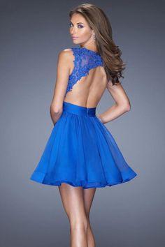 2014 Popular Homecoming Dresses Scoop Lace & Chiffon Dark Royal Blue Short/Mini Under 100