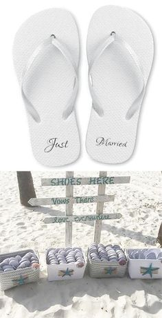 Just Married White Wedding Flip Flops.  Perfect for any beach wedding or favor.  Comes in a case of 20 of assorted sizes or individual sizes- S, M, L, XL