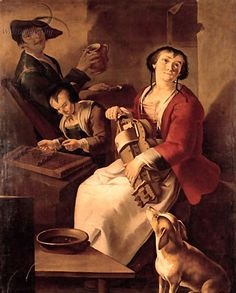 A peasant woman playing the hurdy-gurdy, a girl playing the dulcimer and drinking, a youth in a farmhouse by Giacomo Francesco Cipper - Reproduction Oil Painting Renaissance, Hurdy Gurdy, Hammered Dulcimer, Early Music, Most Famous Paintings, Environmental Portraits, Sculpture, Middle Ages, Top Artists