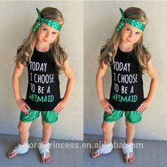 2017 Hot Sale Baby Girls Mermaid outfits Mermaid shorts+Fish scales Pants+bow Headband 3pcs set kids suit kids summer outfits