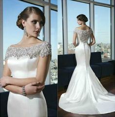 2014 Mermaid Satin Wedding Dresses Portrait New Sexy Sheer Back Court Train Bridal Gowns Elegant Beading Pearls Sequins Spring Church Garden Online with $115.71/Piece on Hjklp88's Store