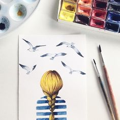 #illustration #watercolor #иллюстрация #акварель #art #artist #painting #drawing #girl #stripedshirt #seagull #чайка #девушка #море #sea #nautical #nauticaltheme #postcard #открытка #navy #назаказ #art_we_inspire #сейчас_рисую