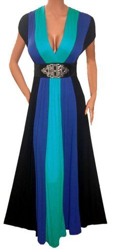 FUNFASH SLIMMING BLUE BLACK LONG RENAISSANCE MAXI COCKTAIL DRESS NEW Plus Size Made in USA Free Shipping