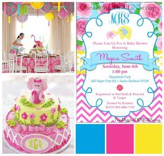 Lilly Pulitzer inspired Party Elephant baby shower or birthday party. Customized to print.