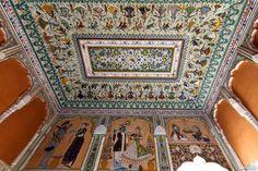 A painted ceiling of Modi Haveli, Jhunjhunu, Rajasthan