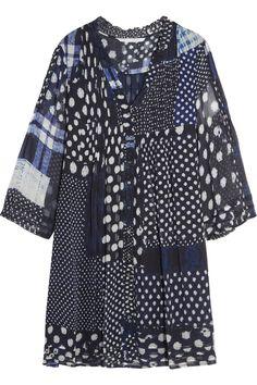 DIANE VON FURSTENBERG Layla plissé printed silk-chiffon dress. #dianevonfurstenberg #cloth #dress
