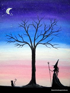 OOAK folk art Painting at twilight original by WitchHollowPrims, $25.00