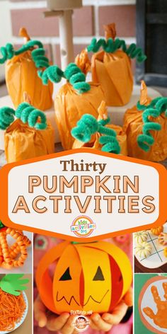 It is getting that time of year for pumpkin activities for kids of all ages whether it be pumpkin activities for toddlers, preschoolers, or older kids! Who doesn't love pumpkin arts and crafts? We have a collection of our favorite pumpkin activities that are easy, fun, and a breeze to set up. Pumpkins are popping up everywhere! There are so many fun pumpkin crafts and pumpkin art that you can make–like these 30 Easy Pumpkin Activities! Find more ideas at Kidsactivitiesblog.com. Holiday Activities For Kids, Halloween Crafts For Kids, Toddler Activities, Pumpkin Art, Pumpkin Crafts, Homemade Costumes, Holidays With Kids, Holiday Festival, Pumpkins