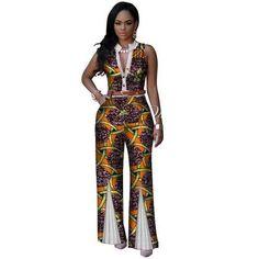 6e289f88ad29 African V-Neck Sleeveless Romper Jumpsuits - Dukaiko Fashion New Fashion