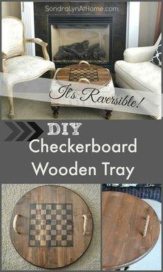 DIY reversible checkerboard wooden tray