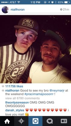 too much for one picture.Niall Horan and Neymar dos Santos Jr Neymar Jr, Five Guys, Niall Horan, Theo Horan, James Horan, Real Madrid, Cutest Thing Ever, I Love One Direction, Soccer Players
