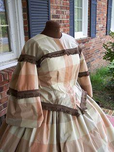 windowpane plaid cotton civil war dress